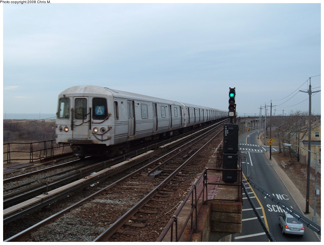 (204k, 1044x788)<br><b>Country:</b> United States<br><b>City:</b> New York<br><b>System:</b> New York City Transit<br><b>Line:</b> IND Rockaway<br><b>Location:</b> Beach 36th Street/Edgemere <br><b>Route:</b> A<br><b>Car:</b> R-44 (St. Louis, 1971-73)  <br><b>Photo by:</b> Chris M.<br><b>Date:</b> 1/29/2008<br><b>Viewed (this week/total):</b> 3 / 981