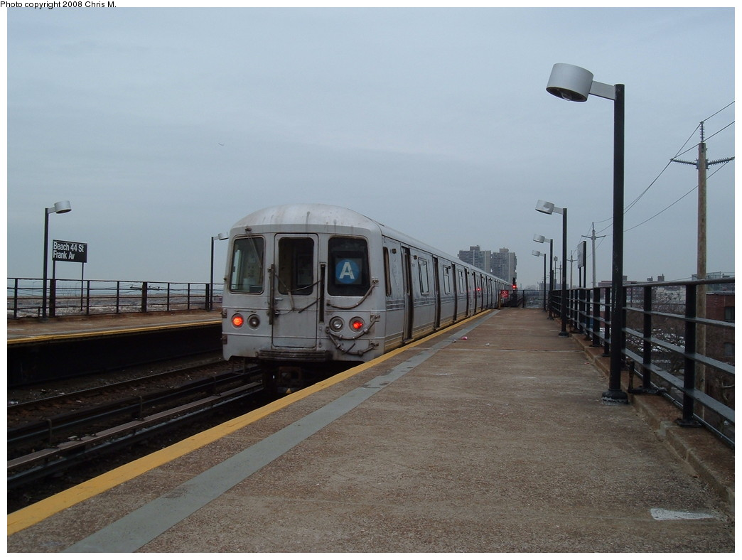 (188k, 1044x788)<br><b>Country:</b> United States<br><b>City:</b> New York<br><b>System:</b> New York City Transit<br><b>Line:</b> IND Rockaway<br><b>Location:</b> Beach 44th Street/Frank Avenue <br><b>Route:</b> A<br><b>Car:</b> R-44 (St. Louis, 1971-73)  <br><b>Photo by:</b> Chris M.<br><b>Date:</b> 1/29/2008<br><b>Viewed (this week/total):</b> 0 / 855