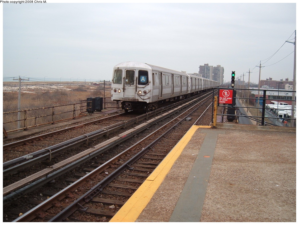 (252k, 1044x788)<br><b>Country:</b> United States<br><b>City:</b> New York<br><b>System:</b> New York City Transit<br><b>Line:</b> IND Rockaway<br><b>Location:</b> Beach 44th Street/Frank Avenue <br><b>Route:</b> A<br><b>Car:</b> R-44 (St. Louis, 1971-73)  <br><b>Photo by:</b> Chris M.<br><b>Date:</b> 1/29/2008<br><b>Viewed (this week/total):</b> 3 / 919