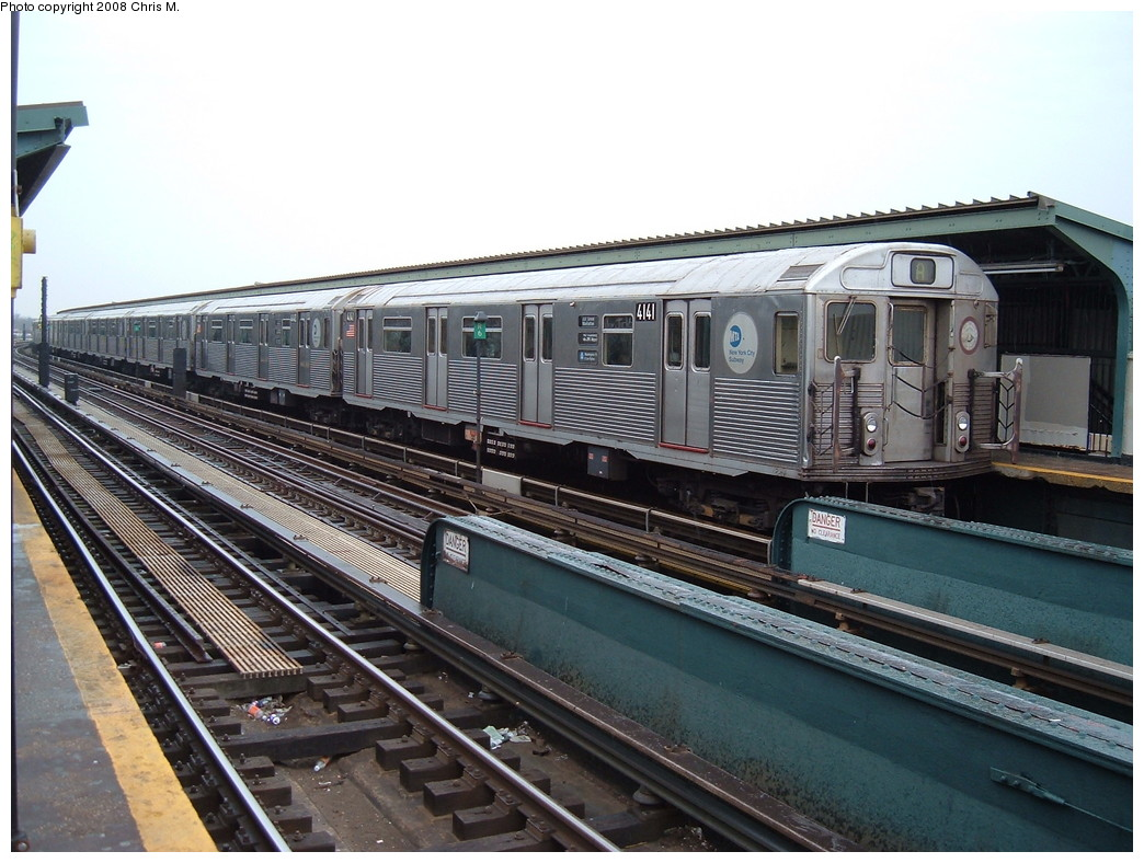 (235k, 1044x788)<br><b>Country:</b> United States<br><b>City:</b> New York<br><b>System:</b> New York City Transit<br><b>Line:</b> IND Fulton Street Line<br><b>Location:</b> Rockaway Boulevard <br><b>Route:</b> A<br><b>Car:</b> R-38 (St. Louis, 1966-1967)  4141 <br><b>Photo by:</b> Chris M.<br><b>Date:</b> 1/29/2008<br><b>Viewed (this week/total):</b> 0 / 937