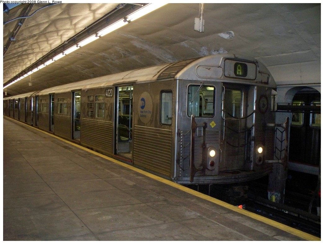 (198k, 1044x788)<br><b>Country:</b> United States<br><b>City:</b> New York<br><b>System:</b> New York City Transit<br><b>Line:</b> IND 8th Avenue Line<br><b>Location:</b> 190th Street/Overlook Terrace <br><b>Route:</b> A<br><b>Car:</b> R-38 (St. Louis, 1966-1967)  4020 <br><b>Photo by:</b> Glenn L. Rowe<br><b>Date:</b> 4/4/2008<br><b>Viewed (this week/total):</b> 1 / 1099