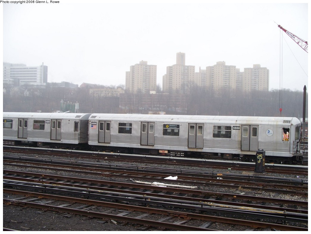 (196k, 1044x788)<br><b>Country:</b> United States<br><b>City:</b> New York<br><b>System:</b> New York City Transit<br><b>Location:</b> 207th Street Yard<br><b>Car:</b> R-42 (St. Louis, 1969-1970)  4888 <br><b>Photo by:</b> Glenn L. Rowe<br><b>Date:</b> 4/4/2008<br><b>Viewed (this week/total):</b> 1 / 1240