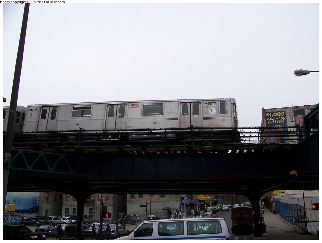 (154k, 1044x788)<br><b>Country:</b> United States<br><b>City:</b> New York<br><b>System:</b> New York City Transit<br><b>Line:</b> IRT Woodlawn Line<br><b>Location:</b> 161st Street/River Avenue (Yankee Stadium) <br><b>Route:</b> 4<br><b>Car:</b> R-142A (Supplemental Order, Kawasaki, 2003-2004)  7786 <br><b>Photo by:</b> Philip D'Allesandro<br><b>Date:</b> 4/3/2008<br><b>Viewed (this week/total):</b> 1 / 1648