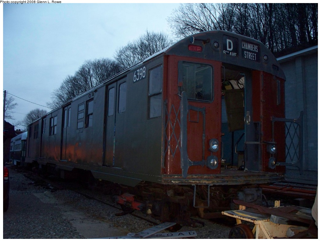 (198k, 1044x788)<br><b>Country:</b> United States<br><b>City:</b> Kingston, NY<br><b>System:</b> Trolley Museum of New York <br><b>Car:</b> R-16 (American Car & Foundry, 1955) 6398 <br><b>Photo by:</b> Glenn L. Rowe<br><b>Date:</b> 4/5/2008<br><b>Viewed (this week/total):</b> 1 / 1598