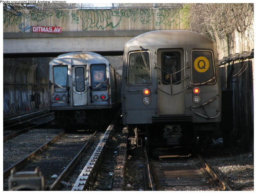 (164k, 820x620)<br><b>Country:</b> United States<br><b>City:</b> New York<br><b>System:</b> New York City Transit<br><b>Line:</b> BMT Brighton Line<br><b>Location:</b> Newkirk Plaza (fmrly Newkirk Ave.) <br><b>Route:</b> Q<br><b>Car:</b> R-68A (Kawasaki, 1988-1989)   <br><b>Photo by:</b> Andrew Johnson<br><b>Date:</b> 4/2/2008<br><b>Viewed (this week/total):</b> 2 / 1285