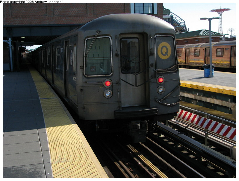 (151k, 820x620)<br><b>Country:</b> United States<br><b>City:</b> New York<br><b>System:</b> New York City Transit<br><b>Location:</b> Coney Island/Stillwell Avenue<br><b>Route:</b> Q<br><b>Car:</b> R-68A (Kawasaki, 1988-1989)  5186 <br><b>Photo by:</b> Andrew Johnson<br><b>Date:</b> 4/2/2008<br><b>Viewed (this week/total):</b> 2 / 1378