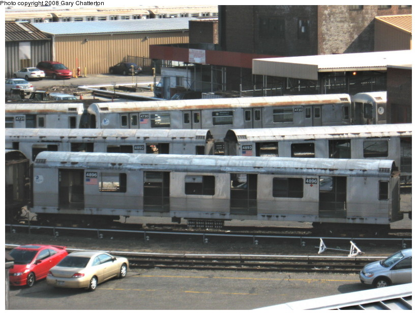 (141k, 820x620)<br><b>Country:</b> United States<br><b>City:</b> New York<br><b>System:</b> New York City Transit<br><b>Location:</b> 207th Street Yard<br><b>Car:</b> R-42 (St. Louis, 1969-1970)  4896/4892/4893/4730 <br><b>Photo by:</b> Gary Chatterton<br><b>Date:</b> 3/11/2008<br><b>Viewed (this week/total):</b> 1 / 1261