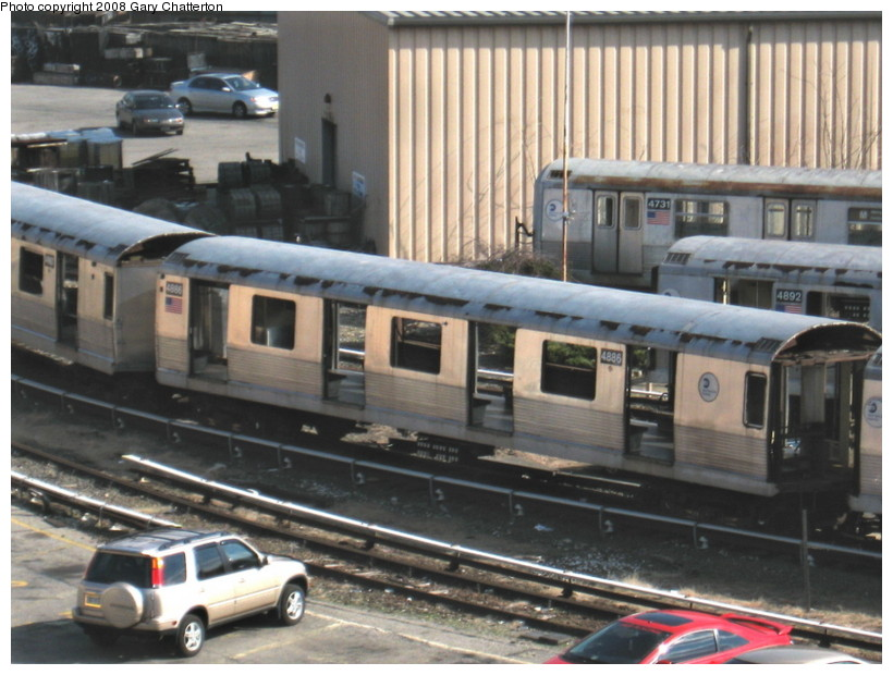 (141k, 820x620)<br><b>Country:</b> United States<br><b>City:</b> New York<br><b>System:</b> New York City Transit<br><b>Location:</b> 207th Street Yard<br><b>Car:</b> R-42 (St. Louis, 1969-1970)  4887/4731/4892 <br><b>Photo by:</b> Gary Chatterton<br><b>Date:</b> 3/11/2008<br><b>Viewed (this week/total):</b> 0 / 737
