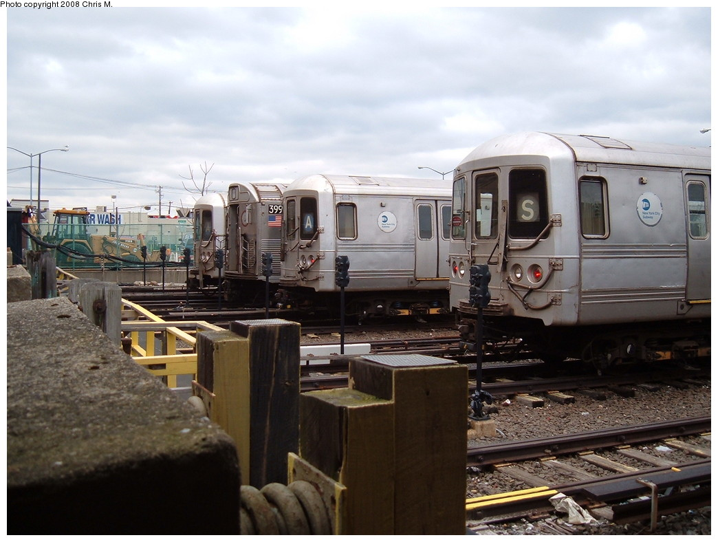 (208k, 1044x788)<br><b>Country:</b> United States<br><b>City:</b> New York<br><b>System:</b> New York City Transit<br><b>Location:</b> Rockaway Park Yard<br><b>Route:</b> A<br><b>Car:</b> R-44 (St. Louis, 1971-73) 5394 <br><b>Photo by:</b> Chris M.<br><b>Date:</b> 4/6/2008<br><b>Viewed (this week/total):</b> 1 / 1478