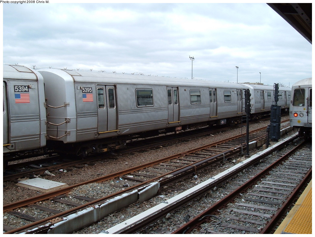 (253k, 1044x788)<br><b>Country:</b> United States<br><b>City:</b> New York<br><b>System:</b> New York City Transit<br><b>Location:</b> Rockaway Park Yard<br><b>Route:</b> A<br><b>Car:</b> R-44 (St. Louis, 1971-73) 5395 <br><b>Photo by:</b> Chris M.<br><b>Date:</b> 4/6/2008<br><b>Viewed (this week/total):</b> 1 / 1390