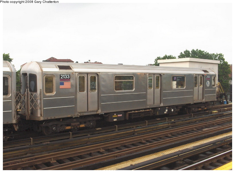 (104k, 820x605)<br><b>Country:</b> United States<br><b>City:</b> New York<br><b>System:</b> New York City Transit<br><b>Line:</b> IRT Flushing Line<br><b>Location:</b> 69th Street/Fisk Avenue <br><b>Route:</b> 7<br><b>Car:</b> R-62A (Bombardier, 1984-1987)  2133 <br><b>Photo by:</b> Gary Chatterton<br><b>Date:</b> 6/3/2006<br><b>Viewed (this week/total):</b> 7 / 1057
