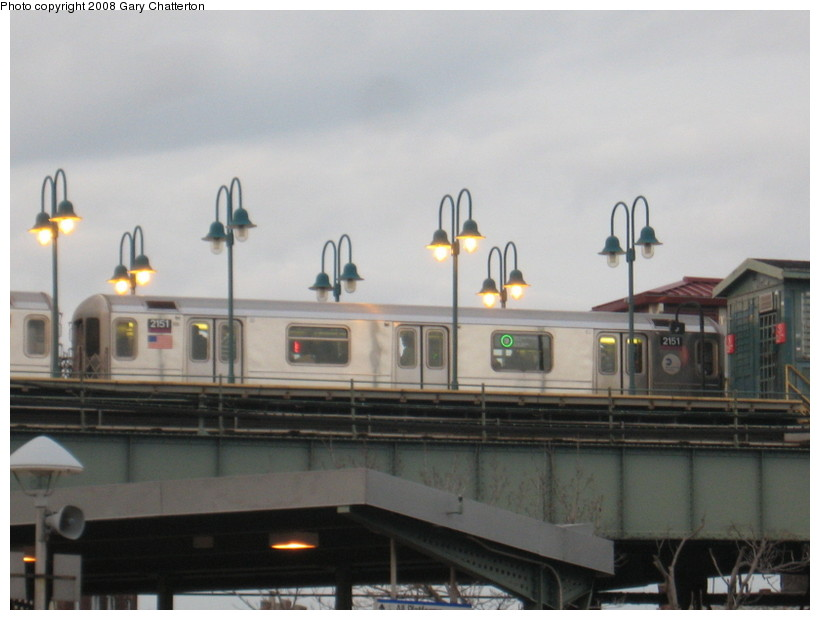 (97k, 820x620)<br><b>Country:</b> United States<br><b>City:</b> New York<br><b>System:</b> New York City Transit<br><b>Line:</b> IRT Flushing Line<br><b>Location:</b> 61st Street/Woodside <br><b>Route:</b> 7<br><b>Car:</b> R-62A (Bombardier, 1984-1987)  2151 <br><b>Photo by:</b> Gary Chatterton<br><b>Date:</b> 3/15/2008<br><b>Notes:</b> Note LED express/local sign in window.<br><b>Viewed (this week/total):</b> 0 / 1551