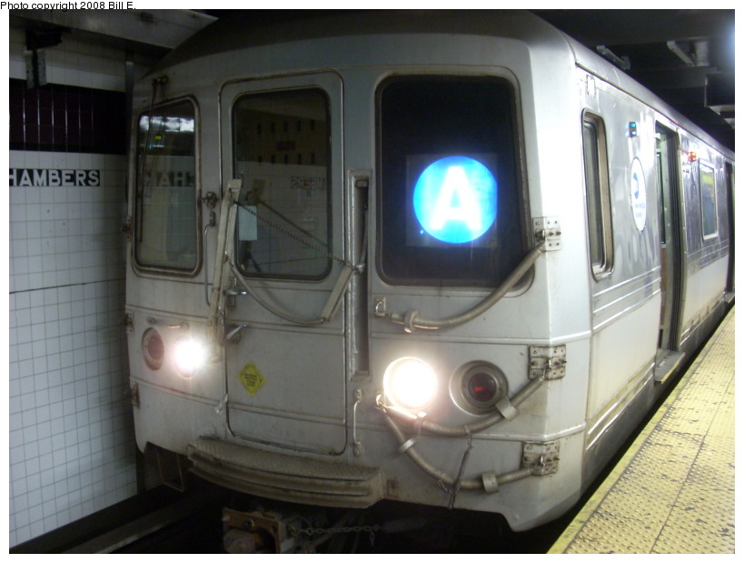 (146k, 819x619)<br><b>Country:</b> United States<br><b>City:</b> New York<br><b>System:</b> New York City Transit<br><b>Line:</b> IND 8th Avenue Line<br><b>Location:</b> Chambers Street/World Trade Center <br><b>Route:</b> A<br><b>Car:</b> R-44 (St. Louis, 1971-73)  <br><b>Photo by:</b> Bill E.<br><b>Date:</b> 4/5/2008<br><b>Viewed (this week/total):</b> 0 / 1464