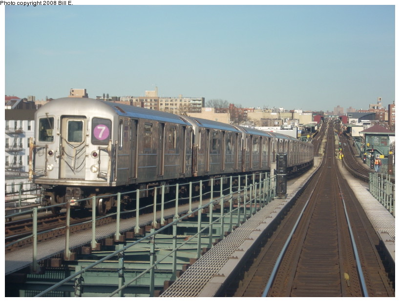 (166k, 819x619)<br><b>Country:</b> United States<br><b>City:</b> New York<br><b>System:</b> New York City Transit<br><b>Line:</b> IRT Flushing Line<br><b>Location:</b> 61st Street/Woodside <br><b>Route:</b> 7<br><b>Car:</b> R-62A (Bombardier, 1984-1987)  1695 <br><b>Photo by:</b> Bill E.<br><b>Date:</b> 4/5/2008<br><b>Viewed (this week/total):</b> 1 / 1087
