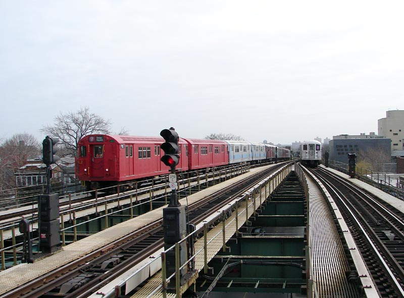 (92k, 800x590)<br><b>Country:</b> United States<br><b>City:</b> New York<br><b>System:</b> New York City Transit<br><b>Line:</b> IRT Flushing Line<br><b>Location:</b> Junction Boulevard <br><b>Route:</b> Museum Train Service (7)<br><b>Car:</b> R-33 Main Line (St. Louis, 1962-63) 9017 <br><b>Photo by:</b> Bob Vogel<br><b>Date:</b> 4/8/2008<br><b>Viewed (this week/total):</b> 1 / 964