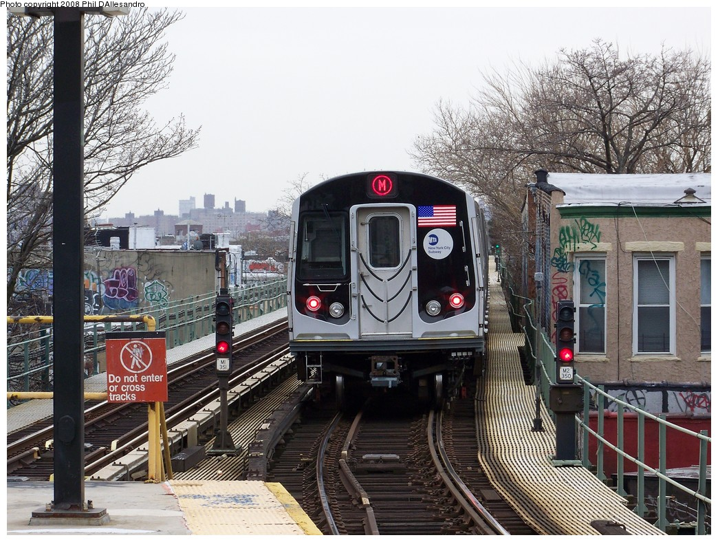 (306k, 1044x788)<br><b>Country:</b> United States<br><b>City:</b> New York<br><b>System:</b> New York City Transit<br><b>Line:</b> BMT Myrtle Avenue Line<br><b>Location:</b> Fresh Pond Road <br><b>Route:</b> M<br><b>Car:</b> R-160A-1 (Alstom, 2005-2008, 4 car sets)  8313 <br><b>Photo by:</b> Philip D'Allesandro<br><b>Date:</b> 4/7/2008<br><b>Notes:</b> First day of full 8-car R160A trains on the M line.<br><b>Viewed (this week/total):</b> 1 / 2427