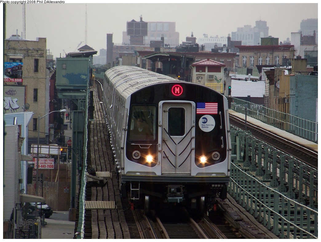 (250k, 1044x788)<br><b>Country:</b> United States<br><b>City:</b> New York<br><b>System:</b> New York City Transit<br><b>Line:</b> BMT Myrtle Avenue Line<br><b>Location:</b> Knickerbocker Avenue <br><b>Route:</b> M<br><b>Car:</b> R-160A-1 (Alstom, 2005-2008, 4 car sets)  8332 <br><b>Photo by:</b> Philip D'Allesandro<br><b>Date:</b> 4/7/2008<br><b>Notes:</b> First day of full 8-car R160A trains on the M line.<br><b>Viewed (this week/total):</b> 0 / 2157