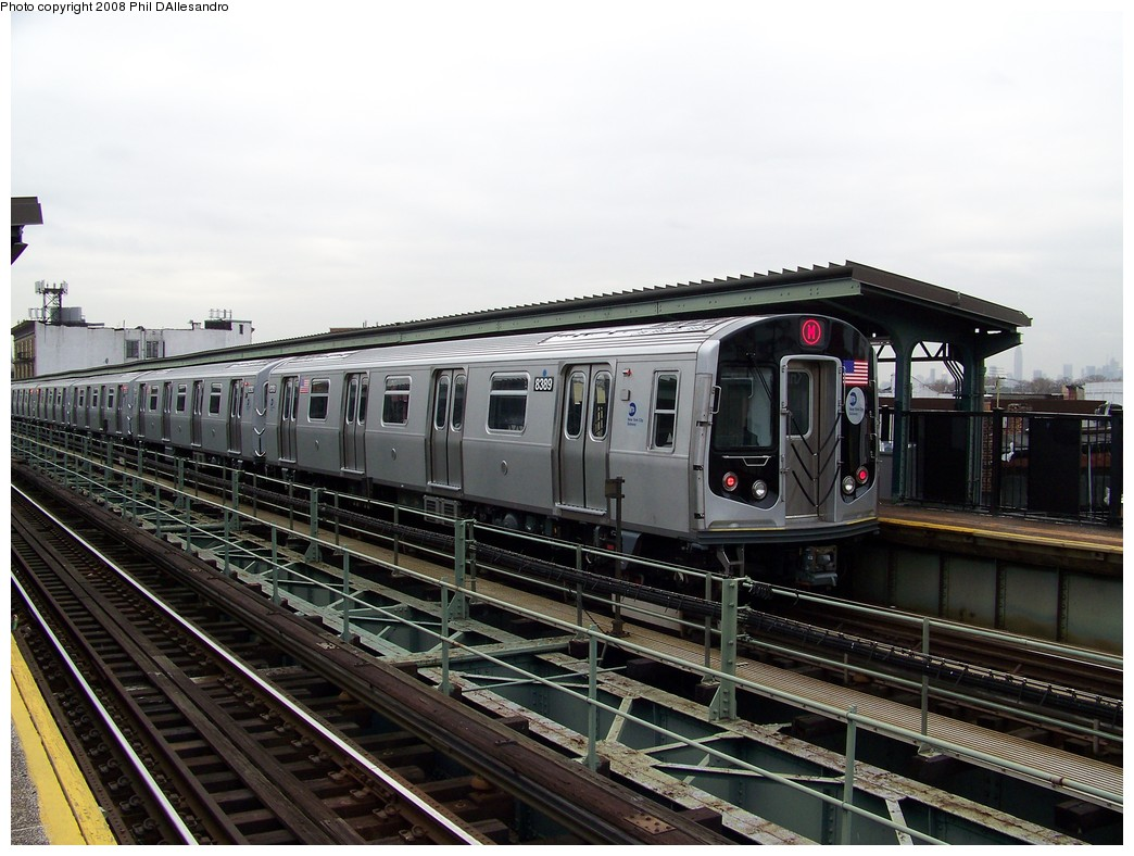 (219k, 1044x788)<br><b>Country:</b> United States<br><b>City:</b> New York<br><b>System:</b> New York City Transit<br><b>Line:</b> BMT Myrtle Avenue Line<br><b>Location:</b> Knickerbocker Avenue <br><b>Route:</b> M<br><b>Car:</b> R-160A-1 (Alstom, 2005-2008, 4 car sets)  8389 <br><b>Photo by:</b> Philip D'Allesandro<br><b>Date:</b> 4/7/2008<br><b>Notes:</b> First day of full 8-car R160A trains on the M line.<br><b>Viewed (this week/total):</b> 2 / 1626