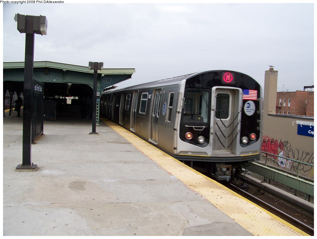 (179k, 1044x788)<br><b>Country:</b> United States<br><b>City:</b> New York<br><b>System:</b> New York City Transit<br><b>Line:</b> BMT Myrtle Avenue Line<br><b>Location:</b> Fresh Pond Road <br><b>Route:</b> M<br><b>Car:</b> R-160A-1 (Alstom, 2005-2008, 4 car sets)  8417 <br><b>Photo by:</b> Philip D'Allesandro<br><b>Date:</b> 4/7/2008<br><b>Notes:</b> First day of full 8-car R160A trains on the M line.<br><b>Viewed (this week/total):</b> 2 / 1685