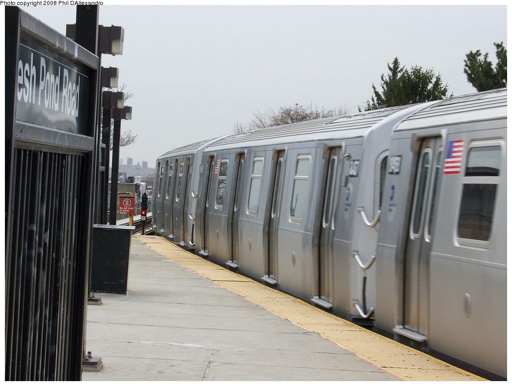 (191k, 1044x788)<br><b>Country:</b> United States<br><b>City:</b> New York<br><b>System:</b> New York City Transit<br><b>Line:</b> BMT Myrtle Avenue Line<br><b>Location:</b> Fresh Pond Road <br><b>Route:</b> M<br><b>Car:</b> R-160A-1 (Alstom, 2005-2008, 4 car sets)  8467 <br><b>Photo by:</b> Philip D'Allesandro<br><b>Date:</b> 4/7/2008<br><b>Notes:</b> First day of full 8-car R160A trains on the M line.<br><b>Viewed (this week/total):</b> 5 / 1794