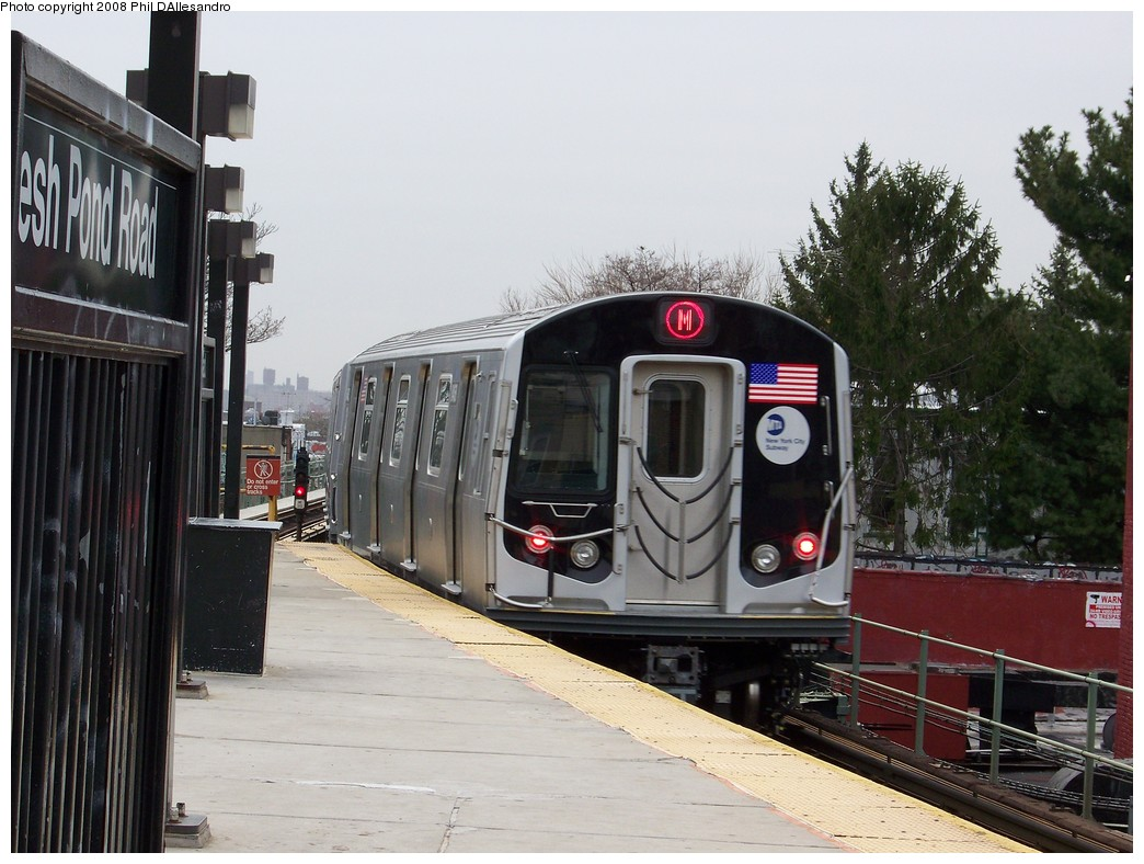 (218k, 1044x788)<br><b>Country:</b> United States<br><b>City:</b> New York<br><b>System:</b> New York City Transit<br><b>Line:</b> BMT Myrtle Avenue Line<br><b>Location:</b> Fresh Pond Road <br><b>Route:</b> M<br><b>Car:</b> R-160A-1 (Alstom, 2005-2008, 4 car sets)  8468 <br><b>Photo by:</b> Philip D'Allesandro<br><b>Date:</b> 4/7/2008<br><b>Notes:</b> First day of full 8-car R160A trains on the M line.<br><b>Viewed (this week/total):</b> 1 / 1817