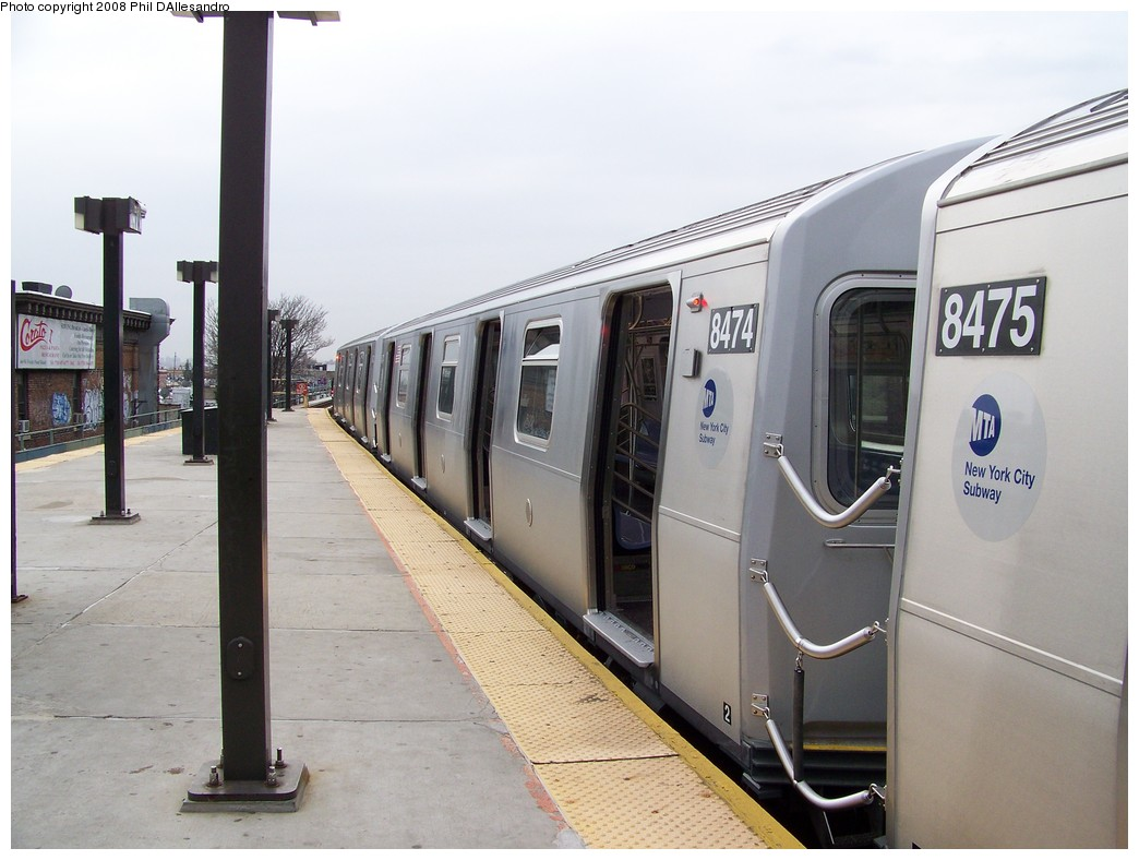 (181k, 1044x788)<br><b>Country:</b> United States<br><b>City:</b> New York<br><b>System:</b> New York City Transit<br><b>Line:</b> BMT Myrtle Avenue Line<br><b>Location:</b> Fresh Pond Road <br><b>Route:</b> M<br><b>Car:</b> R-160A-1 (Alstom, 2005-2008, 4 car sets)  8474 <br><b>Photo by:</b> Philip D'Allesandro<br><b>Date:</b> 4/7/2008<br><b>Notes:</b> First day of full 8-car R160A trains on the M line.<br><b>Viewed (this week/total):</b> 3 / 1642