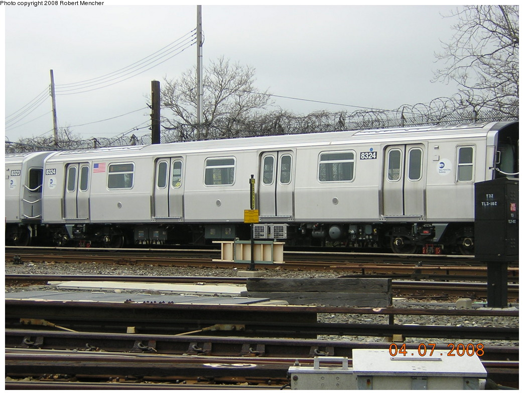 (258k, 1044x788)<br><b>Country:</b> United States<br><b>City:</b> New York<br><b>System:</b> New York City Transit<br><b>Line:</b> BMT Canarsie Line<br><b>Location:</b> Rockaway Parkway <br><b>Car:</b> R-160A-1 (Alstom, 2005-2008, 4 car sets)  8324 <br><b>Photo by:</b> Robert Mencher<br><b>Date:</b> 4/7/2008<br><b>Viewed (this week/total):</b> 0 / 1021