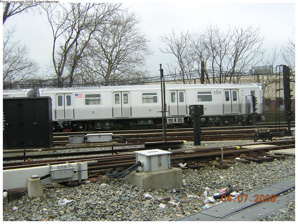 (357k, 1044x788)<br><b>Country:</b> United States<br><b>City:</b> New York<br><b>System:</b> New York City Transit<br><b>Line:</b> BMT Canarsie Line<br><b>Location:</b> Rockaway Parkway <br><b>Car:</b> R-160A-1 (Alstom, 2005-2008, 4 car sets)  8353 <br><b>Photo by:</b> Robert Mencher<br><b>Date:</b> 4/7/2008<br><b>Viewed (this week/total):</b> 5 / 1527