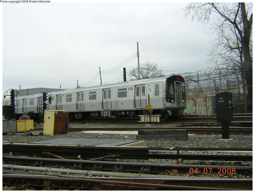 (245k, 1044x788)<br><b>Country:</b> United States<br><b>City:</b> New York<br><b>System:</b> New York City Transit<br><b>Line:</b> BMT Canarsie Line<br><b>Location:</b> Rockaway Parkway <br><b>Car:</b> R-160A-1 (Alstom, 2005-2008, 4 car sets)  8441 <br><b>Photo by:</b> Robert Mencher<br><b>Date:</b> 4/7/2008<br><b>Viewed (this week/total):</b> 5 / 1582