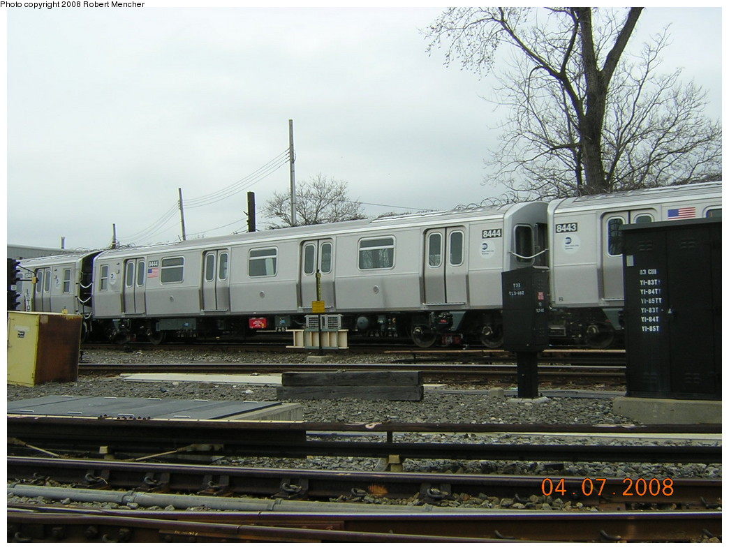 (250k, 1044x788)<br><b>Country:</b> United States<br><b>City:</b> New York<br><b>System:</b> New York City Transit<br><b>Line:</b> BMT Canarsie Line<br><b>Location:</b> Rockaway Parkway <br><b>Car:</b> R-160A-1 (Alstom, 2005-2008, 4 car sets)  8444 <br><b>Photo by:</b> Robert Mencher<br><b>Date:</b> 4/7/2008<br><b>Viewed (this week/total):</b> 2 / 2142