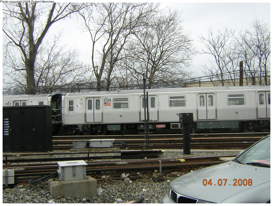 (336k, 1044x788)<br><b>Country:</b> United States<br><b>City:</b> New York<br><b>System:</b> New York City Transit<br><b>Line:</b> BMT Canarsie Line<br><b>Location:</b> Rockaway Parkway <br><b>Car:</b> R-143 (Kawasaki, 2001-2002) 8172 <br><b>Photo by:</b> Robert Mencher<br><b>Date:</b> 4/7/2008<br><b>Viewed (this week/total):</b> 1 / 1169