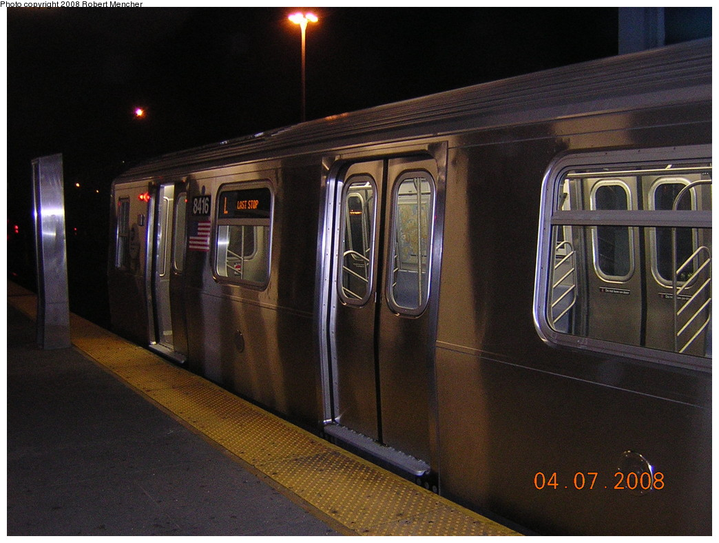 (254k, 1044x788)<br><b>Country:</b> United States<br><b>City:</b> New York<br><b>System:</b> New York City Transit<br><b>Line:</b> BMT Canarsie Line<br><b>Location:</b> Rockaway Parkway <br><b>Car:</b> R-160A-1 (Alstom, 2005-2008, 4 car sets)  8416 <br><b>Photo by:</b> Robert Mencher<br><b>Date:</b> 4/7/2008<br><b>Viewed (this week/total):</b> 2 / 2428