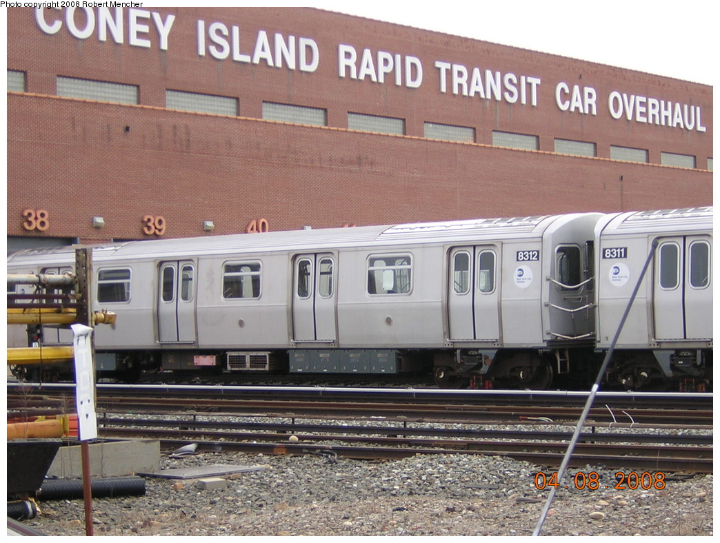 (284k, 1044x788)<br><b>Country:</b> United States<br><b>City:</b> New York<br><b>System:</b> New York City Transit<br><b>Location:</b> Coney Island Yard<br><b>Car:</b> R-143 (Kawasaki, 2001-2002) 8312 <br><b>Photo by:</b> Robert Mencher<br><b>Date:</b> 4/8/2008<br><b>Viewed (this week/total):</b> 0 / 2532