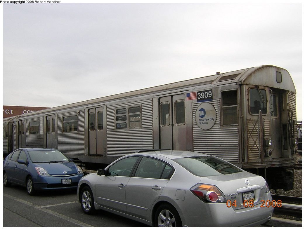 (203k, 1044x788)<br><b>Country:</b> United States<br><b>City:</b> New York<br><b>System:</b> New York City Transit<br><b>Location:</b> Coney Island Yard<br><b>Car:</b> R-32 (Budd, 1964)  3909 <br><b>Photo by:</b> Robert Mencher<br><b>Date:</b> 4/8/2008<br><b>Viewed (this week/total):</b> 0 / 1375
