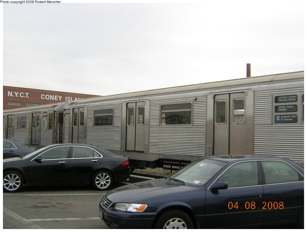 (186k, 1044x788)<br><b>Country:</b> United States<br><b>City:</b> New York<br><b>System:</b> New York City Transit<br><b>Location:</b> Coney Island Yard<br><b>Car:</b> R-32 (Budd, 1964)  3908 <br><b>Photo by:</b> Robert Mencher<br><b>Date:</b> 4/8/2008<br><b>Viewed (this week/total):</b> 1 / 1032