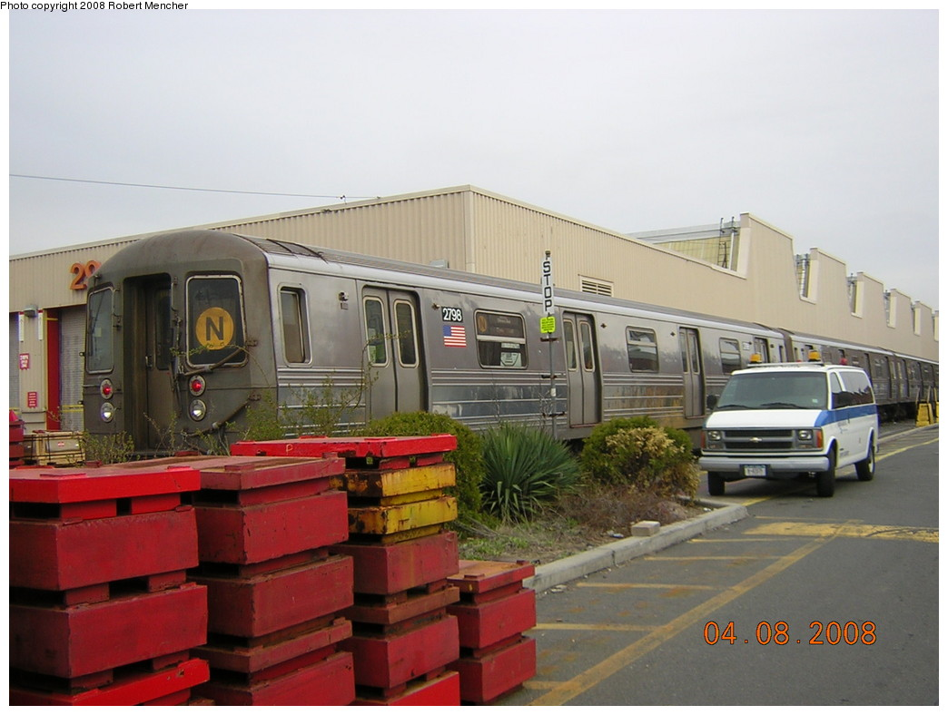 (212k, 1044x788)<br><b>Country:</b> United States<br><b>City:</b> New York<br><b>System:</b> New York City Transit<br><b>Location:</b> Coney Island Yard<br><b>Car:</b> R-68 (Westinghouse-Amrail, 1986-1988)  2798 <br><b>Photo by:</b> Robert Mencher<br><b>Date:</b> 4/8/2008<br><b>Viewed (this week/total):</b> 0 / 1322