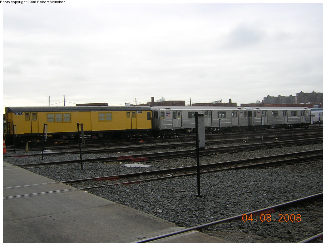 (220k, 1044x788)<br><b>Country:</b> United States<br><b>City:</b> New York<br><b>System:</b> New York City Transit<br><b>Location:</b> Coney Island Yard<br><b>Car:</b> R-95 Revenue Collector 0R722 (ex-7368)<br><b>Photo by:</b> Robert Mencher<br><b>Date:</b> 4/8/2008<br><b>Viewed (this week/total):</b> 2 / 827