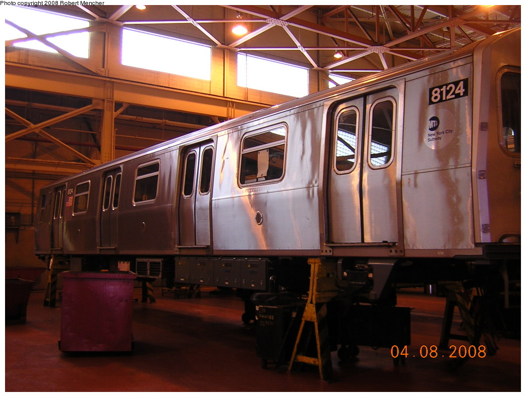 (234k, 1044x788)<br><b>Country:</b> United States<br><b>City:</b> New York<br><b>System:</b> New York City Transit<br><b>Location:</b> Coney Island Shop/Overhaul & Repair Shop<br><b>Car:</b> R-143 (Kawasaki, 2001-2002) 8124 <br><b>Photo by:</b> Robert Mencher<br><b>Date:</b> 4/8/2008<br><b>Viewed (this week/total):</b> 0 / 937