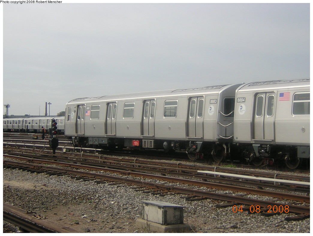 (231k, 1044x788)<br><b>Country:</b> United States<br><b>City:</b> New York<br><b>System:</b> New York City Transit<br><b>Location:</b> Coney Island Yard<br><b>Car:</b> R-160B (Kawasaki, 2005-2008)  8883 <br><b>Photo by:</b> Robert Mencher<br><b>Date:</b> 4/8/2008<br><b>Viewed (this week/total):</b> 1 / 1017