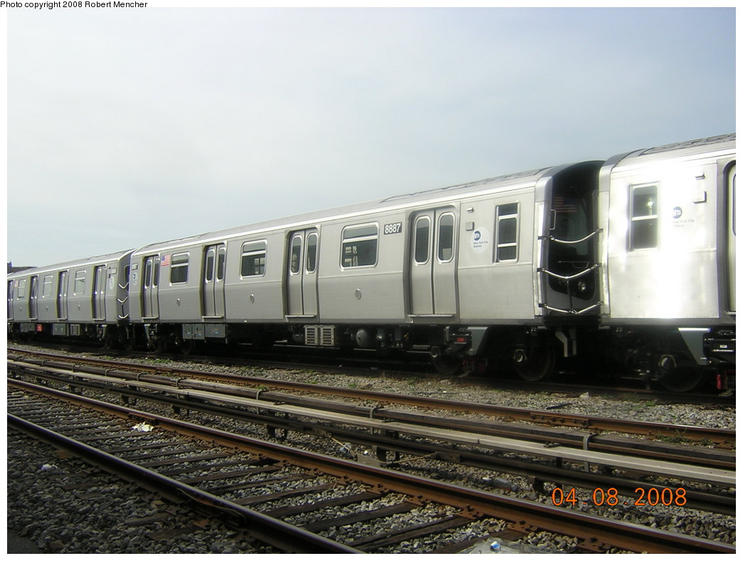 (229k, 1044x788)<br><b>Country:</b> United States<br><b>City:</b> New York<br><b>System:</b> New York City Transit<br><b>Location:</b> Coney Island Yard<br><b>Car:</b> R-160B (Kawasaki, 2005-2008)  8887 <br><b>Photo by:</b> Robert Mencher<br><b>Date:</b> 4/8/2008<br><b>Viewed (this week/total):</b> 0 / 1191