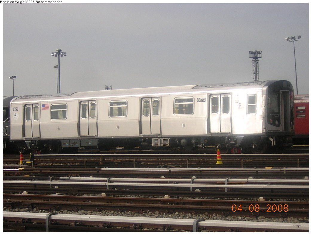 (199k, 1044x788)<br><b>Country:</b> United States<br><b>City:</b> New York<br><b>System:</b> New York City Transit<br><b>Location:</b> Coney Island Yard<br><b>Car:</b> R-160B (Kawasaki, 2005-2008)  8873 <br><b>Photo by:</b> Robert Mencher<br><b>Date:</b> 4/8/2008<br><b>Viewed (this week/total):</b> 1 / 1314