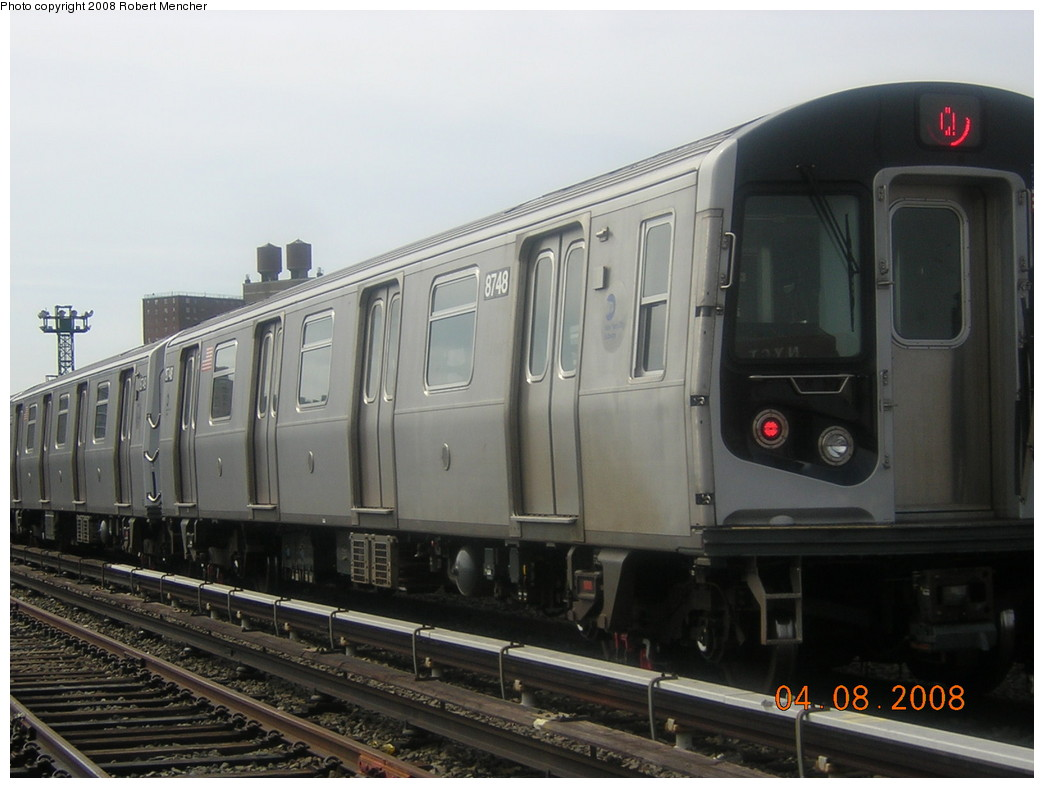 (200k, 1044x788)<br><b>Country:</b> United States<br><b>City:</b> New York<br><b>System:</b> New York City Transit<br><b>Location:</b> Coney Island Yard<br><b>Car:</b> R-160B (Kawasaki, 2005-2008)  8748 <br><b>Photo by:</b> Robert Mencher<br><b>Date:</b> 4/8/2008<br><b>Viewed (this week/total):</b> 1 / 981