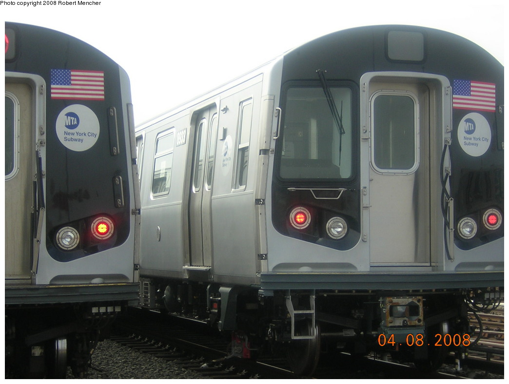 (191k, 1044x788)<br><b>Country:</b> United States<br><b>City:</b> New York<br><b>System:</b> New York City Transit<br><b>Location:</b> Coney Island Yard<br><b>Car:</b> R-160B (Kawasaki, 2005-2008)  8933 <br><b>Photo by:</b> Robert Mencher<br><b>Date:</b> 4/8/2008<br><b>Viewed (this week/total):</b> 2 / 1570