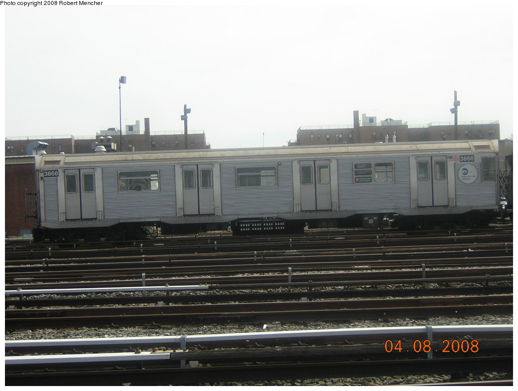 (200k, 1044x788)<br><b>Country:</b> United States<br><b>City:</b> New York<br><b>System:</b> New York City Transit<br><b>Location:</b> Coney Island Yard<br><b>Car:</b> R-32 (Budd, 1964)  3866 <br><b>Photo by:</b> Robert Mencher<br><b>Date:</b> 4/8/2008<br><b>Viewed (this week/total):</b> 0 / 824