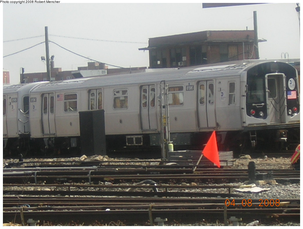 (199k, 1044x788)<br><b>Country:</b> United States<br><b>City:</b> New York<br><b>System:</b> New York City Transit<br><b>Location:</b> Coney Island Yard<br><b>Car:</b> R-143 (Kawasaki, 2001-2002) 8196 <br><b>Photo by:</b> Robert Mencher<br><b>Date:</b> 4/8/2008<br><b>Viewed (this week/total):</b> 1 / 890