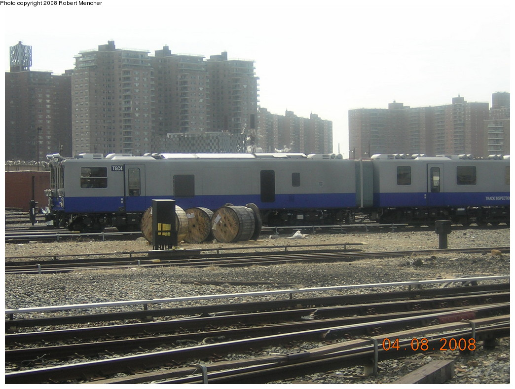 (250k, 1044x788)<br><b>Country:</b> United States<br><b>City:</b> New York<br><b>System:</b> New York City Transit<br><b>Location:</b> Coney Island Yard<br><b>Car:</b> Track Geometry Car TGC4 <br><b>Photo by:</b> Robert Mencher<br><b>Date:</b> 4/8/2008<br><b>Viewed (this week/total):</b> 2 / 879
