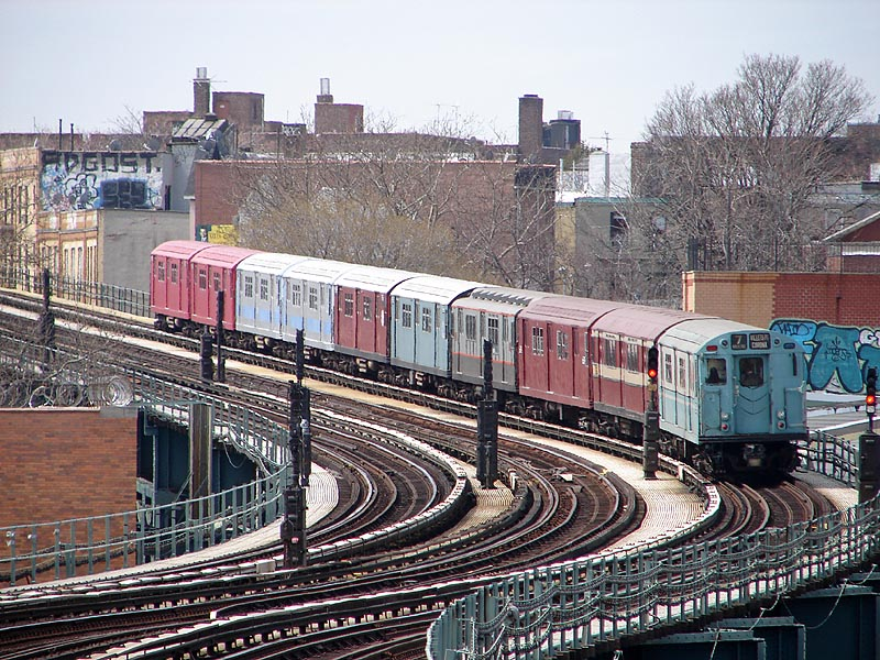 (167k, 800x600)<br><b>Country:</b> United States<br><b>City:</b> New York<br><b>System:</b> New York City Transit<br><b>Line:</b> IRT Flushing Line<br><b>Location:</b> 61st Street/Woodside <br><b>Route:</b> Museum Train Service (7)<br><b>Car:</b> R-33 World's Fair (St. Louis, 1963-64) 9306 <br><b>Photo by:</b> Bob Vogel<br><b>Date:</b> 4/8/2008<br><b>Viewed (this week/total):</b> 1 / 1725