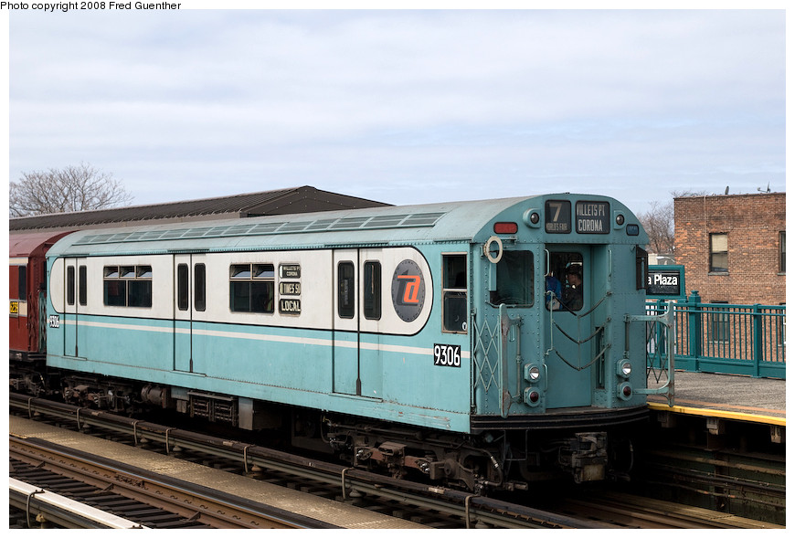 (186k, 870x589)<br><b>Country:</b> United States<br><b>City:</b> New York<br><b>System:</b> New York City Transit<br><b>Line:</b> IRT Flushing Line<br><b>Location:</b> 103rd Street/Corona Plaza <br><b>Route:</b> Museum Train Service (7)<br><b>Car:</b> R-33 World's Fair (St. Louis, 1963-64) 9306 <br><b>Photo by:</b> Fred Guenther<br><b>Date:</b> 4/8/2008<br><b>Viewed (this week/total):</b> 2 / 1760