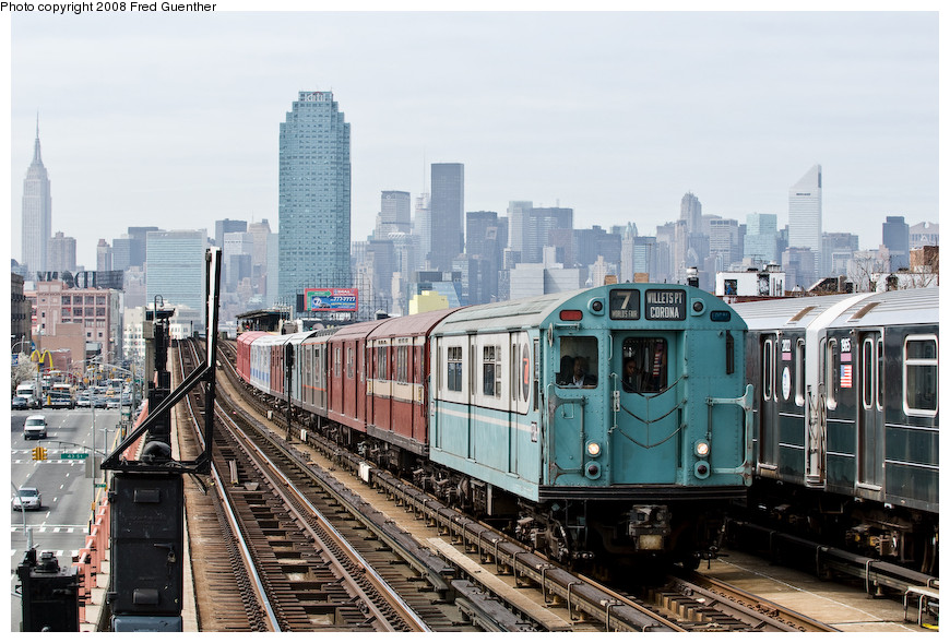 (217k, 870x589)<br><b>Country:</b> United States<br><b>City:</b> New York<br><b>System:</b> New York City Transit<br><b>Line:</b> IRT Flushing Line<br><b>Location:</b> 46th Street/Bliss Street <br><b>Route:</b> Museum Train Service (7)<br><b>Car:</b> R-33 World's Fair (St. Louis, 1963-64) 9306 <br><b>Photo by:</b> Fred Guenther<br><b>Date:</b> 4/8/2008<br><b>Notes:</b> Approaching 46th St.<br><b>Viewed (this week/total):</b> 0 / 1184
