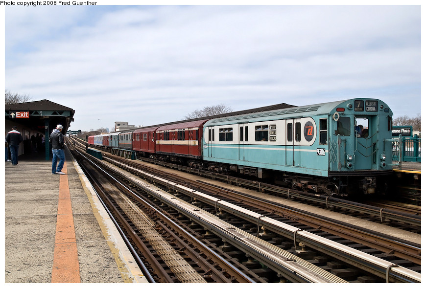 (216k, 870x589)<br><b>Country:</b> United States<br><b>City:</b> New York<br><b>System:</b> New York City Transit<br><b>Line:</b> IRT Flushing Line<br><b>Location:</b> 103rd Street/Corona Plaza <br><b>Route:</b> Museum Train Service (7)<br><b>Car:</b> R-33 World's Fair (St. Louis, 1963-64) 9306 <br><b>Photo by:</b> Fred Guenther<br><b>Date:</b> 4/8/2008<br><b>Viewed (this week/total):</b> 1 / 876